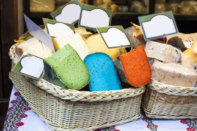 Various kind of colorful Pesto cheese sale in market royalty free stock photography