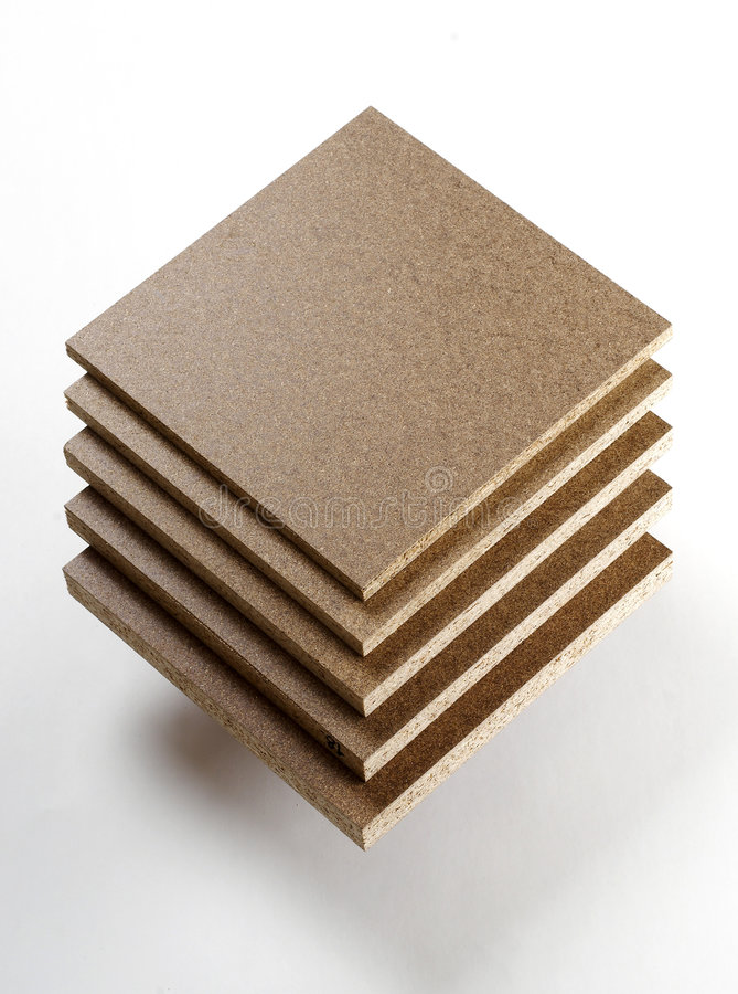 Different sort of Chipboard. On white royalty free stock photo