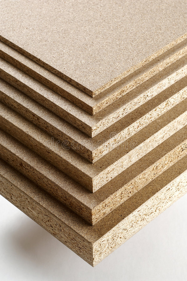 Different sort of Chipboard. On white stock images