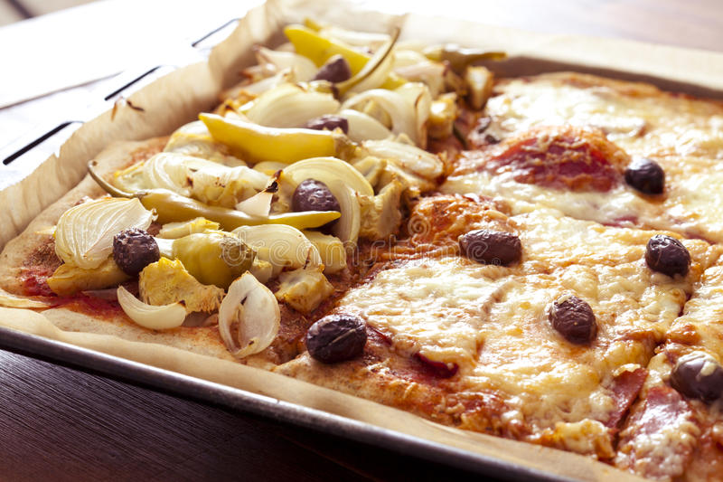 Different sorts of pizza stock image
