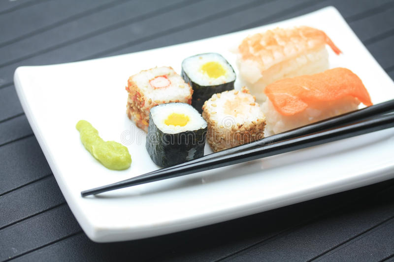 Different sorts of sushi stock image