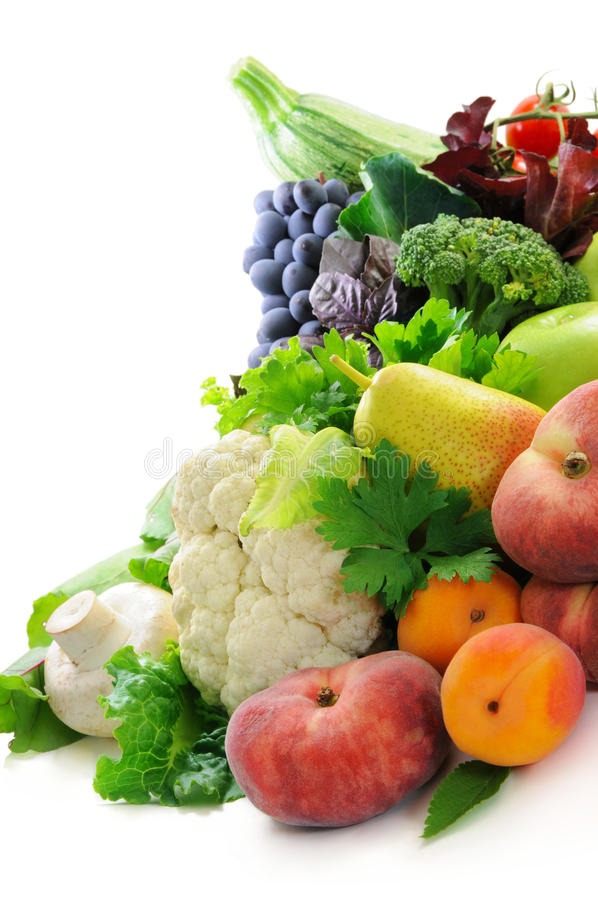 Different sorts of vegetables and fruit royalty free stock photo