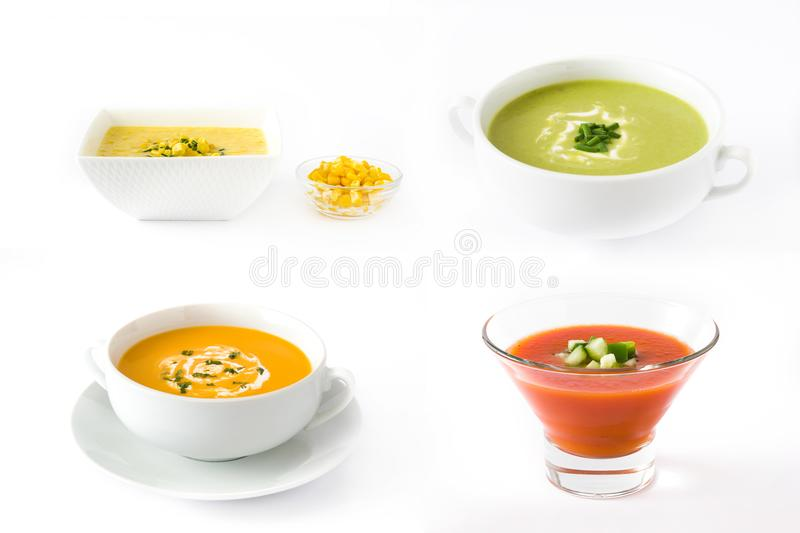 Different soup collage. Gazpacho soup, corn soup, zucchini soup and pumpkin soup on white background stock photos