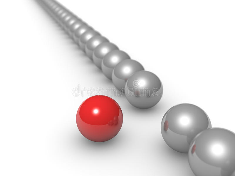 Different sphere. Red ball laying out of row vector illustration