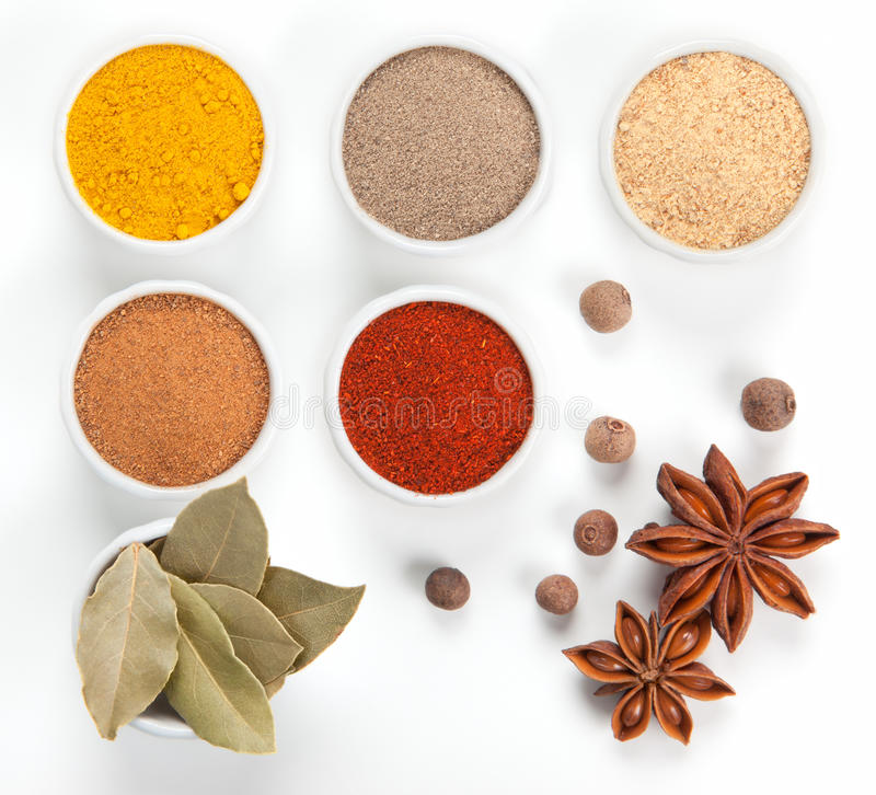 Download Different Spices In Bowls  On White. Stock Photos - Image: 25547853