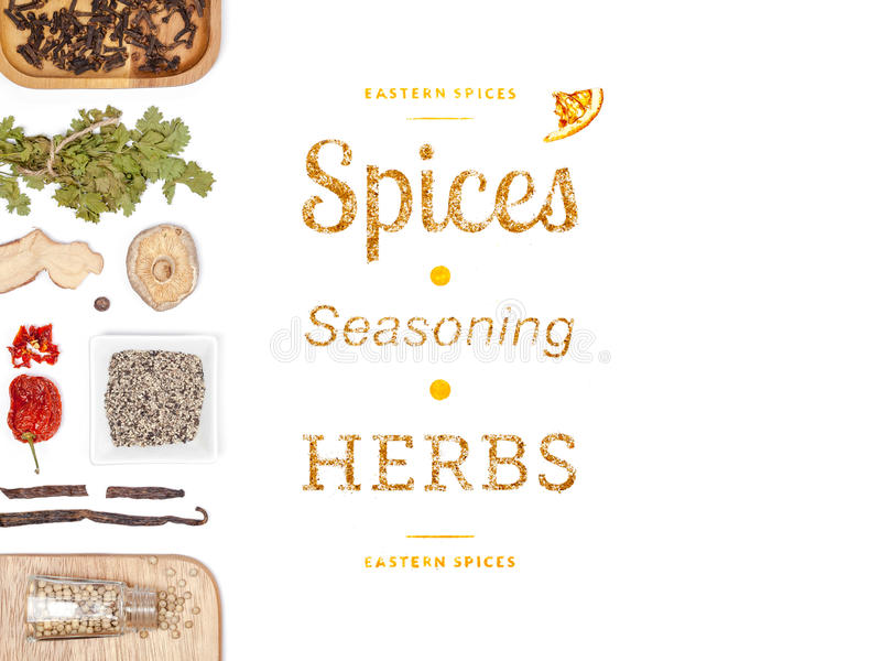 Different spices and herbs on white background. top view. Seasoning. different spices and herbs on white background. top view stock photo