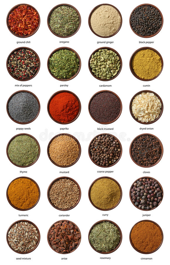 Different spices isolated on white background. stock photos