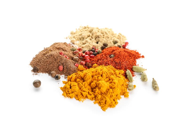 Different spices on white background stock images