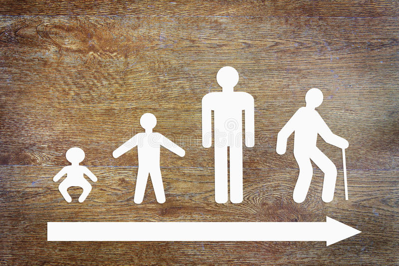 Different stages of human life. Abstract conceptual image stock images