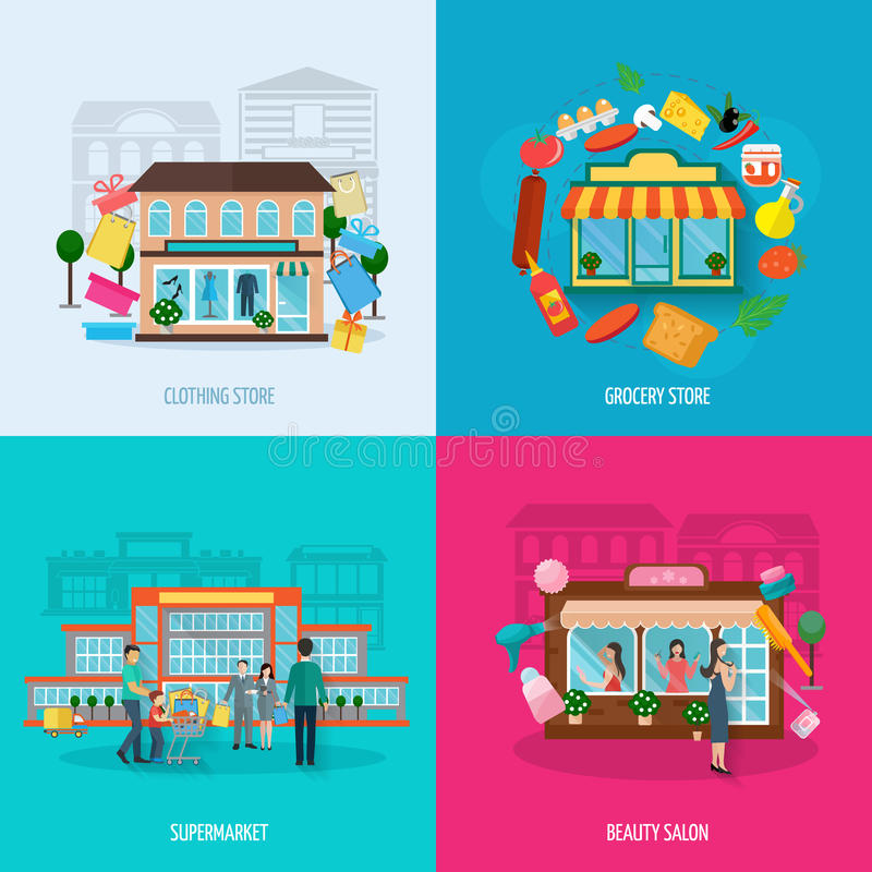 Different stores icons set. Different stores buildings such as clothing grocery beauty salons and supermarkets icons set flat isolated vector illustration stock illustration