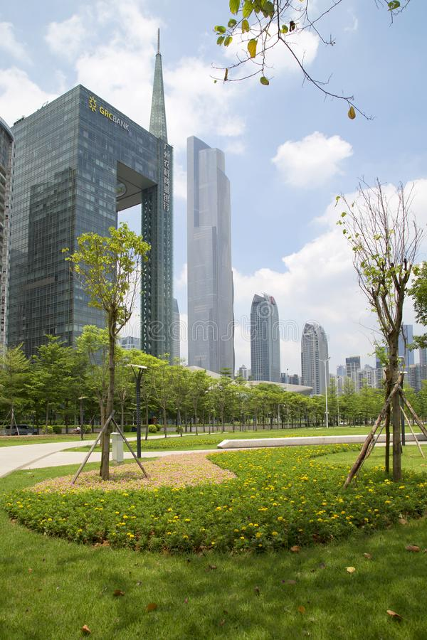 Skyscrapers in Haixinsha Park city Guangzhou China. Different style modern buildings in the city Guangzhou Haixinsha Park, Guangdong province China Asia stock images