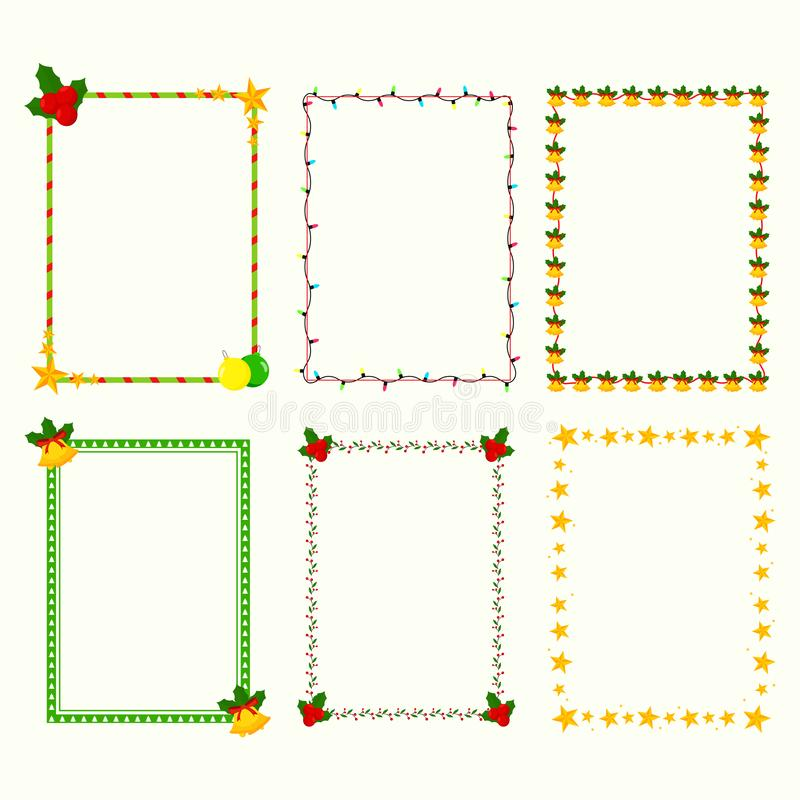 Different style rectangle frame made by stars with jingle bell and floral pattern. Different style rectangle frame made by stars with jingle bell, lighting vector illustration