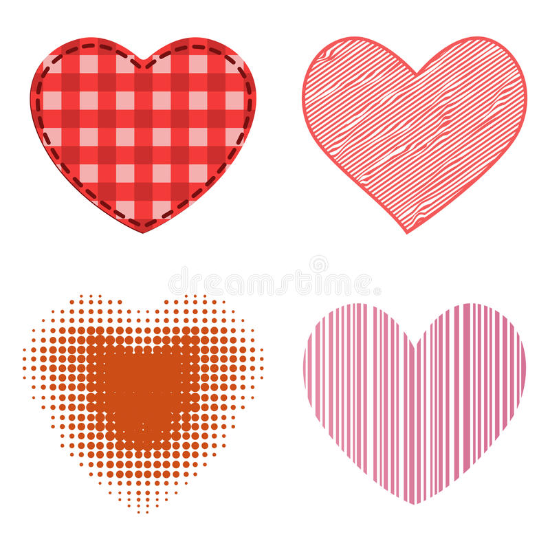 Different style red heart vector icon isolated love valentine day symbol and romantic design wedding beautiful. Celebrate bright emotion passion sign stock illustration