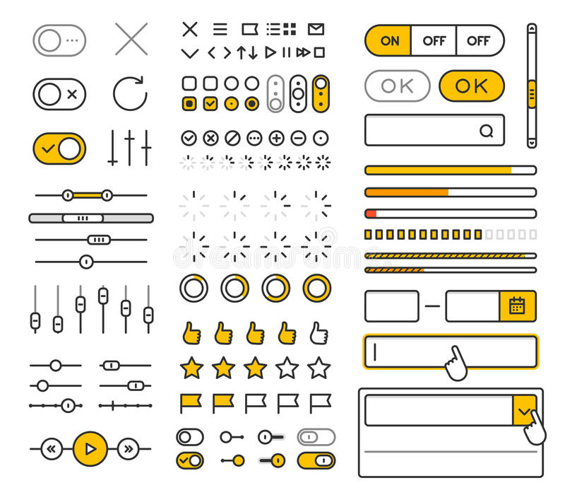 Different style trendy interface vector elements. And pictograms collection isolated on white royalty free illustration