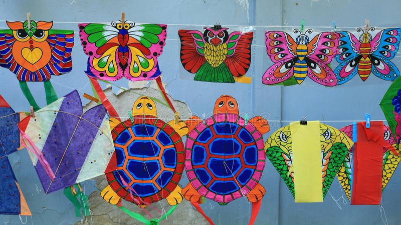 Different styles of animal kites hanging for sell. Recreation background: different styles of animal kites hanging for sell stock photography