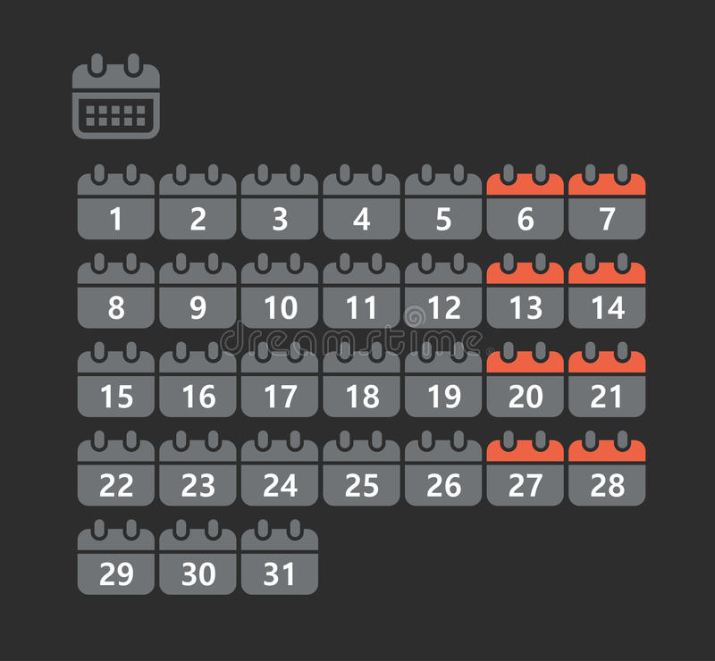 Different styles of calendar web icons stock illustration