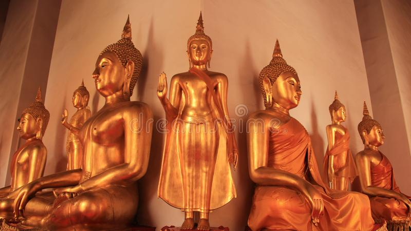 Different Styles Of Golden Buddhas Image. Religion. Different Style of Golden Buddhas Image symbol and traditional of Buddhism in Bangkok Thailand stock photography