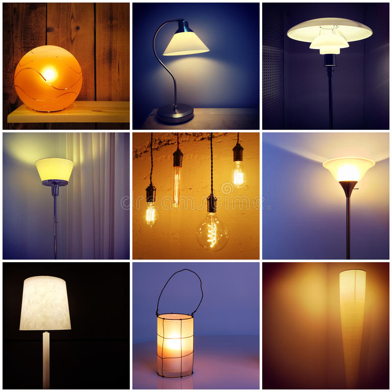 Different styles of modern lamps. Decorative lighting. Collage of nine photos royalty free stock image