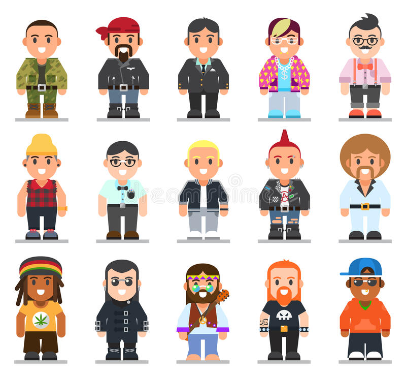 Different subcultures man in trendy flat style. vector illustration