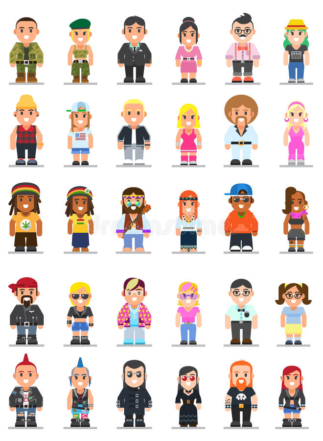 Different subcultures man and woman in flat style. Vector set of different subcultures man and woman in trendy flat style. Military, geek, sporty, punk, swag royalty free illustration