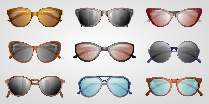 Different summer sunglasses icon set. Male and female elegant eyeglasses, fashion accessory isolated on white backogrund illustration. Glasses in classics stock photos