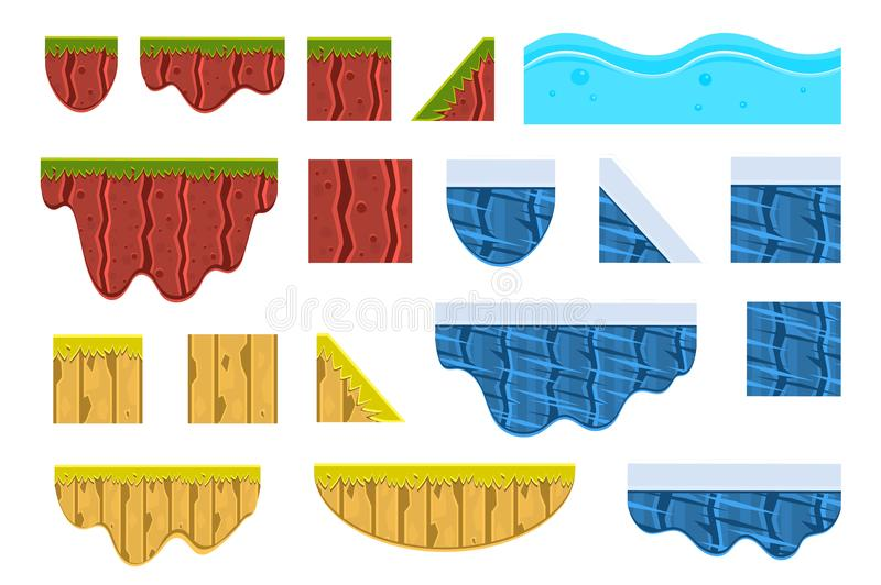 Different surfaces sett, texture of ground, water, ice and wood vector Illustrations on a white background vector illustration