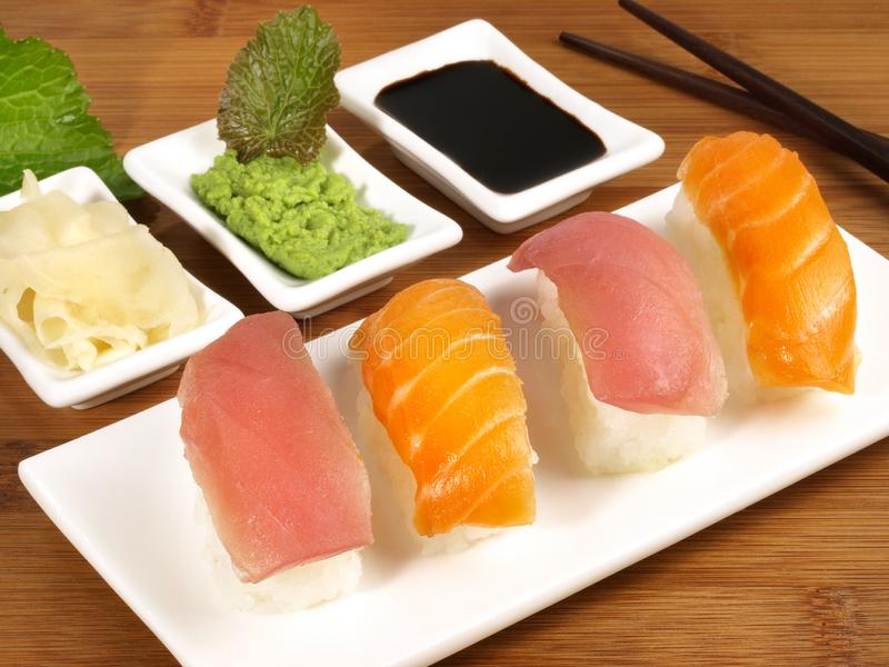 Different Sushi with Wasabi royalty free stock image