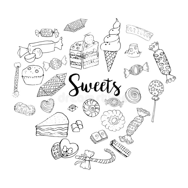 Different sweets collection. Doodle style clipart elements isolated on white. Chocolate and ice-cream royalty free illustration