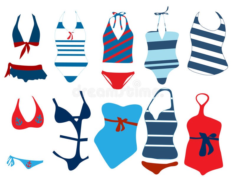 Different swimsuit royalty free illustration