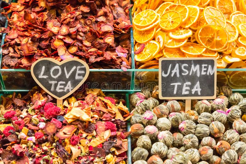 Different tea types. Love tea and Jasmin tea. Egyptian market in Istanbul, Turkey. stock photos