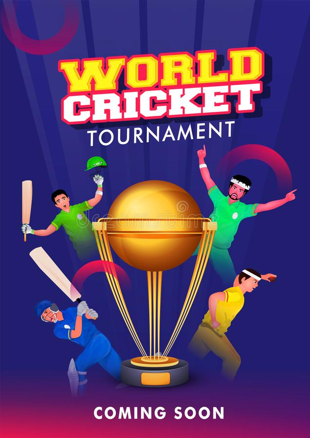 Different team player in playing pose on blue background for World Cricket Tournament. royalty free illustration
