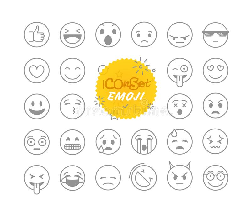 Different thin line emoji collection. Vector icons. Different thin line emoji collection. Vector icon set royalty free illustration