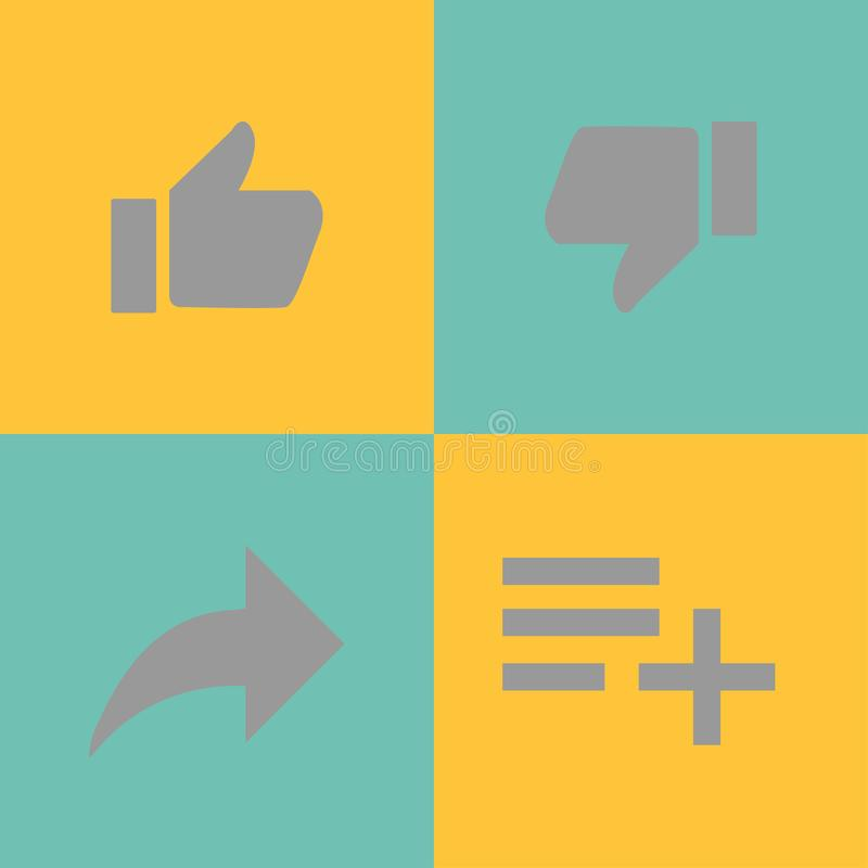 different thumbs up likes with arrow list stock illustration