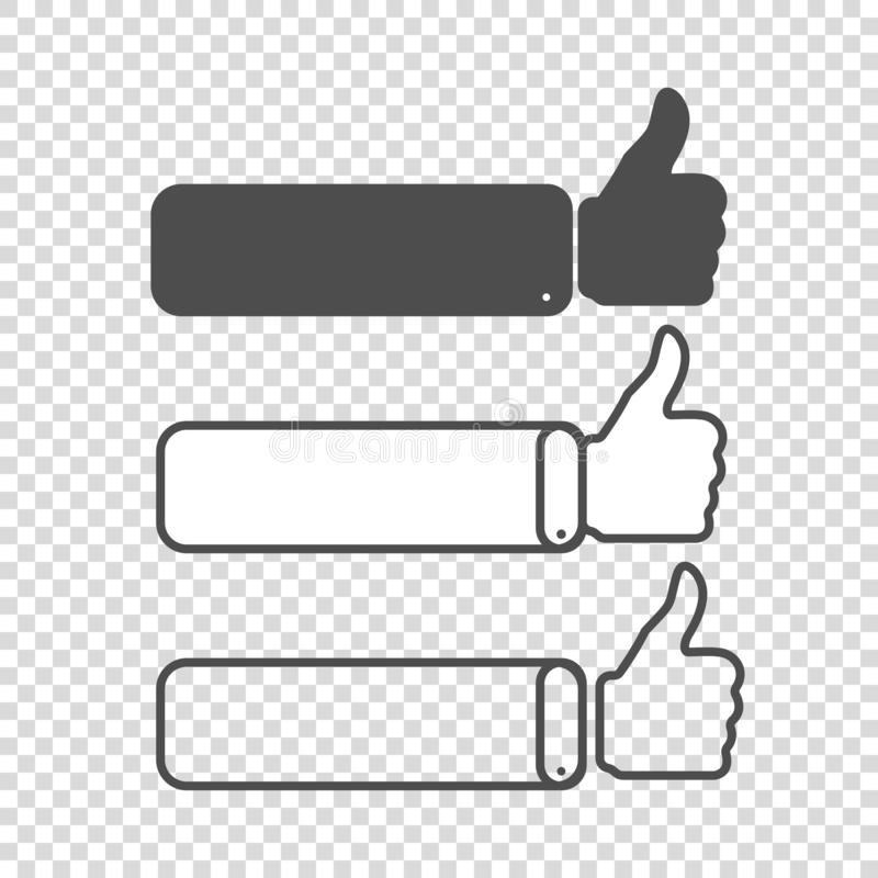 different thumbs up likes on empty background royalty free illustration