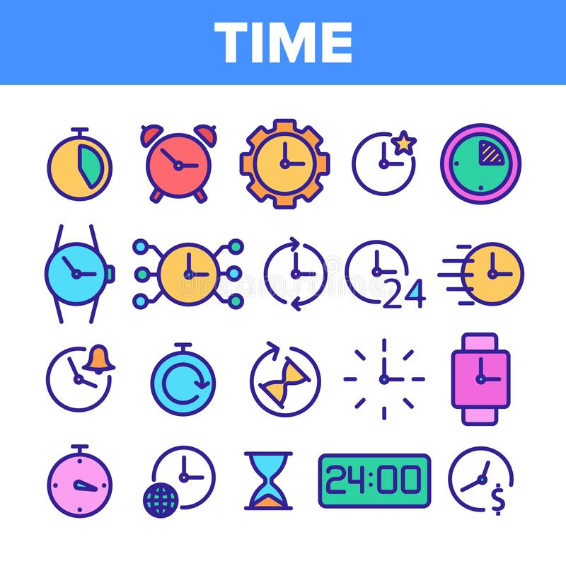 Different Time Clock Collection Vector Icons Set vector illustration