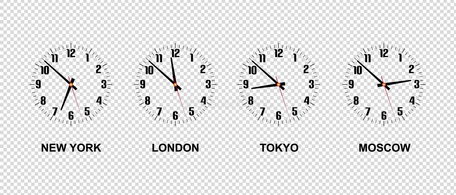 Different Time Zones - New York, London, Tokyo, Moscow - Vector Illustration - Isolated On Transparent Background stock illustration
