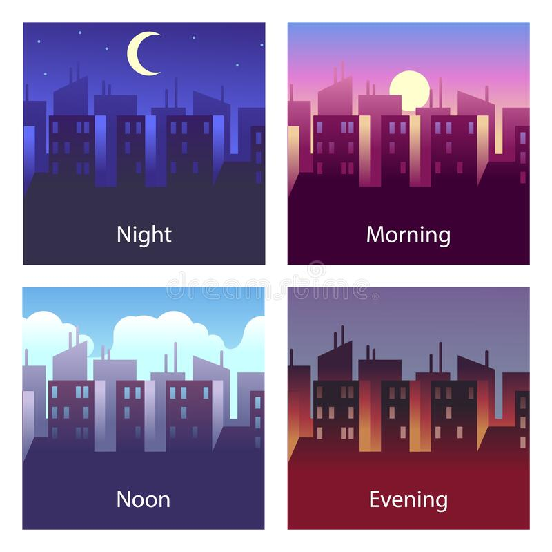 Free Different Times Of Day. Night And Morning, Noon And Evening. 4 Times Vector Illustrations Of City Landscape Royalty Free Stock Photo - 188053035