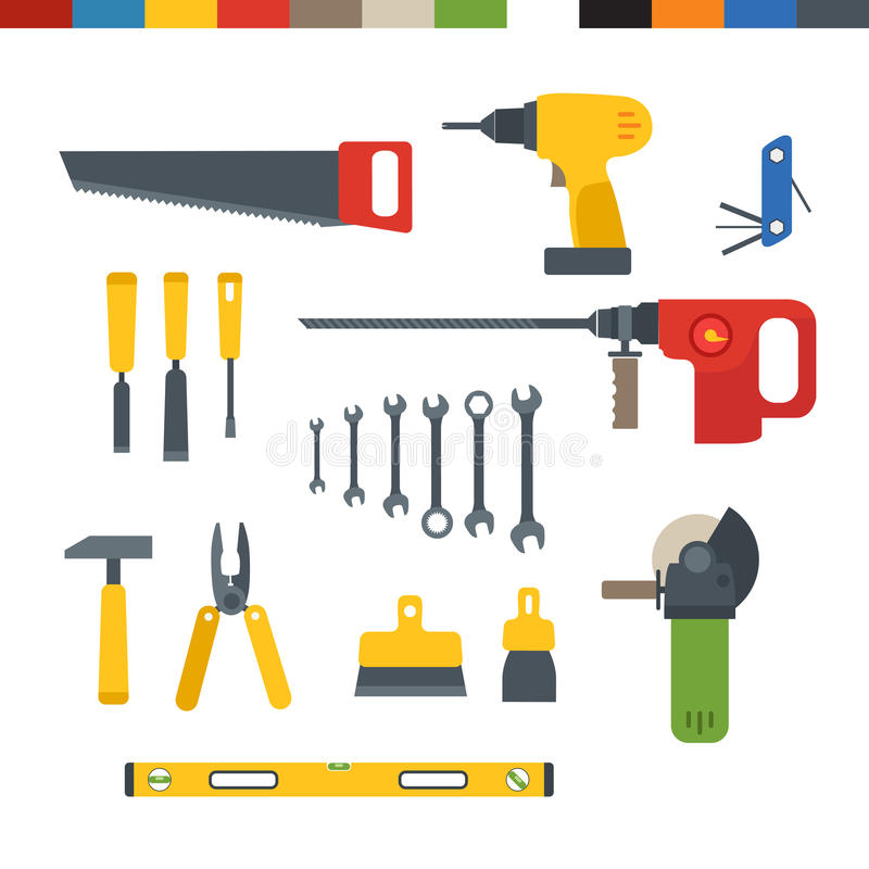 Different tools flat collection stock illustration