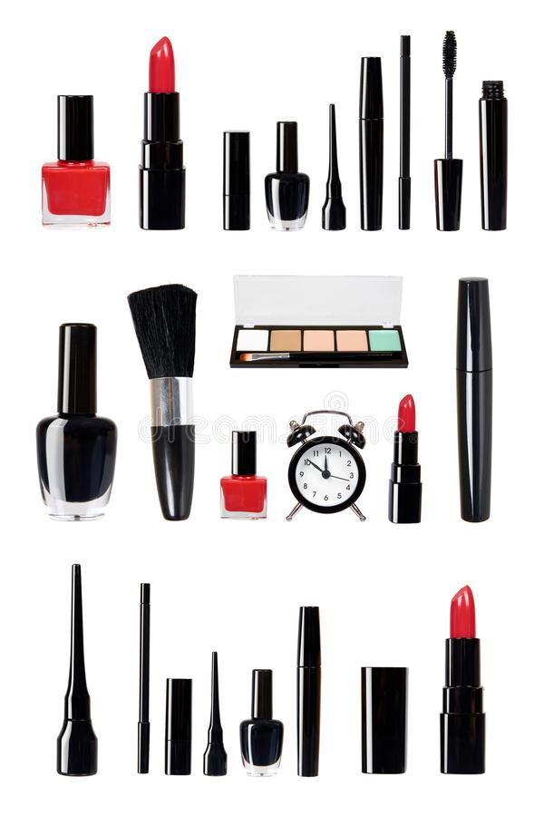 Different tools for make up, luxury cosmetics kit. Lipstick, brush, mascara and eye liner, set and collection stock photography