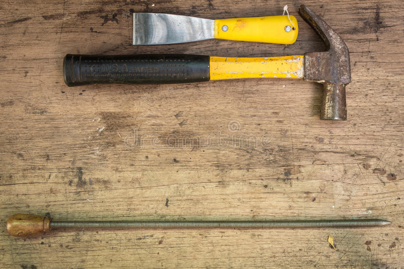 Different tools supplies on a wooden background stock images