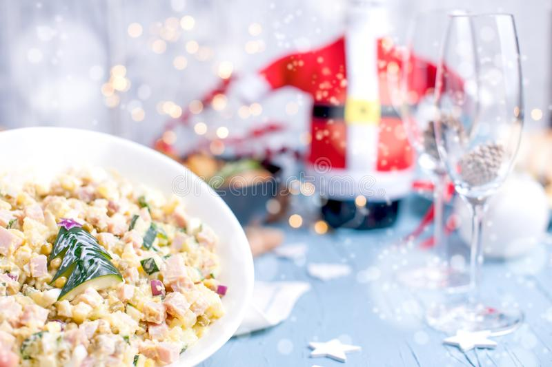 Different traditional food for the New Year`s table. Russian sal stock photography