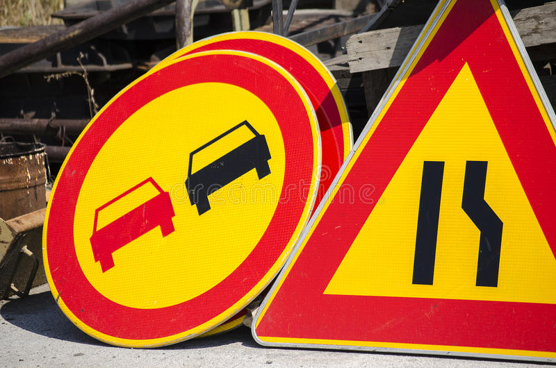 Different traffic road signs stock images