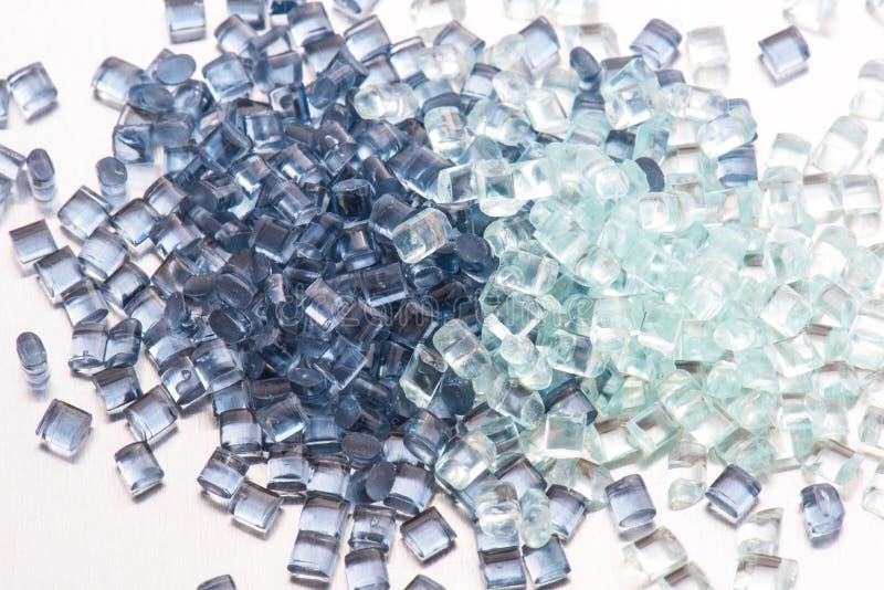 2 different transparent plastic resins stock image