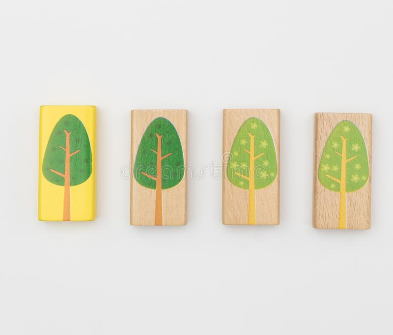 Different Tree color toy block isolated. On white royalty free stock images