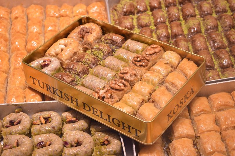 Different Turkish delight in metal box royalty free stock photo