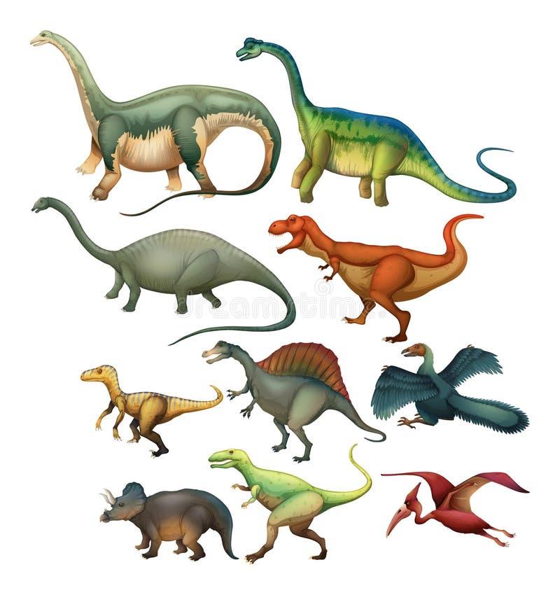 Different type of dinosaurs. Illustration stock illustration
