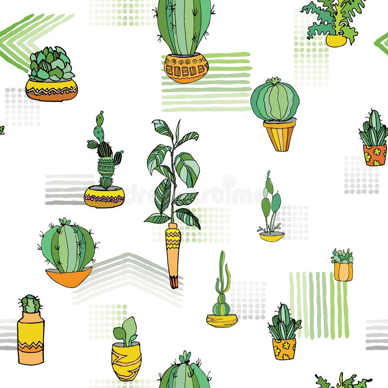 Different type indoor plants in cute flowerpots with traditional ornament. Seamless pattern. Vector illustration. vector illustration