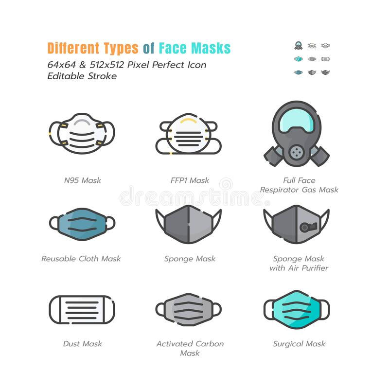Free Different Type Of Face Masks. Covid-19, Coronavirus Disease 2019 Prevention. N95, Surgical Mask And More. Filled Outline Icons Set Royalty Free Stock Photography - 179687087