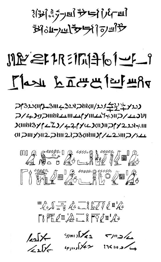 Download Different Types Of Ancient Egyptian Writing Stock Illustration