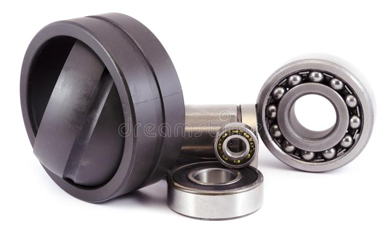 Different types of bearings on a white background stock photography
